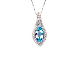 Blue Topaz Hammered Silver Pendant