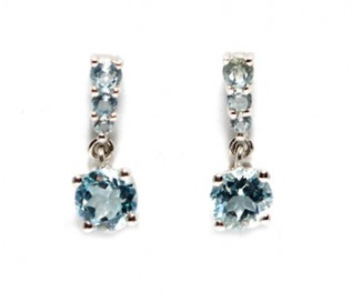 Blue Topaz Silver Size Graduating Drop Earrings