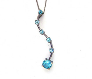 Blue Topaz Silver Journey Pendant