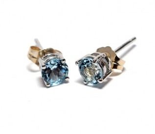 Blue Topaz Silver Round Stud Earrings