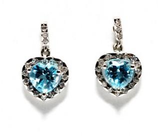 Blue Topaz Cz Silver Heart Earrings