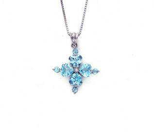 Blue Topaz Silver Four Hearts Pendant