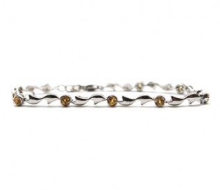 Citrine Silver Circles And Bow Bracelet