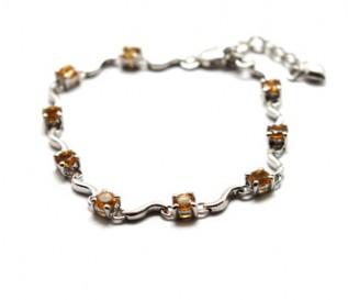 Citrine Silver Swirl Design Bracelet