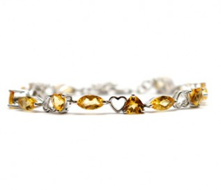 Citrine Silver Hearts And Kisses Bracelet