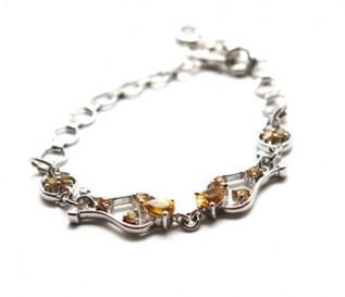Citrine Silver Buckle Design Bracelet