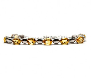 Citrine Silver Oval Links Bracelet