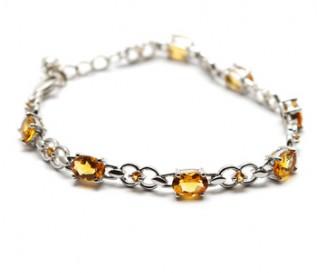 Citrine Silver 8 Link Bracelet