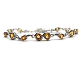 Citrine Silver Bubbles Bracelet