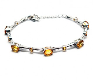 Citrine Silver Ovals And Circles Bracelet