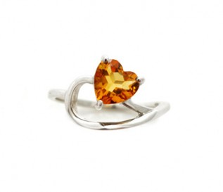 Citrine Silver Tilted Heart Ring