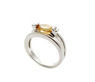 Citrine Silver Eye Ring