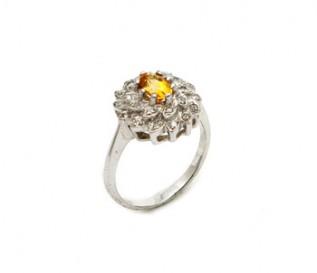 Citrine Silver Flower Ring
