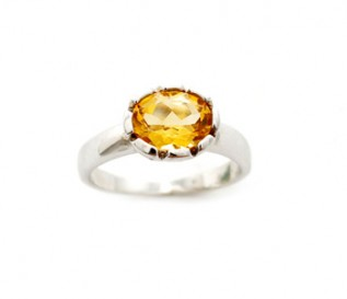 Citrine Silver Solitaire Ring