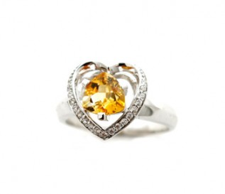 Citrine Silver Enclosed In A Heart Ring