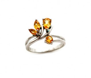 Citrine Silver Petals Ring