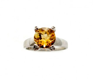 Citrine Silver Ring in Heart Shaped Claw Setting