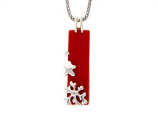 Coral Silver Star Pendant