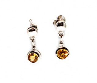 Citrine Silver Dangling Drop Earrings