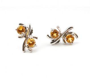 Citrine Silver Kiss Earrings