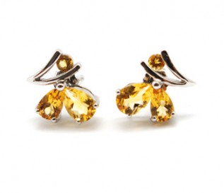 Citrine Silver Butterfly Earrings
