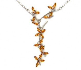 Citrine Silver Flower and Butterfly Necklace