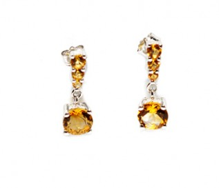 Citrine Silver Size Graduating Earrings