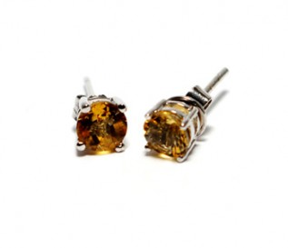 Citrine Silver Round Stud Earrings