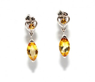 Citrine Silver Heart Drop Earrings