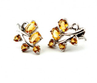 Citrine Silver Leaf Stud Earrings