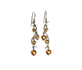 Citrine Silver Dangling S Earrings