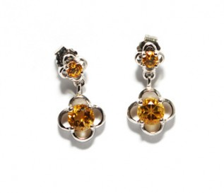 Citrine Silver Dangling Flower Earrings