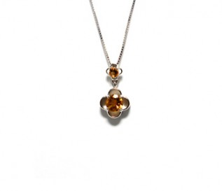 Citrine Silver Double Flower Pendant