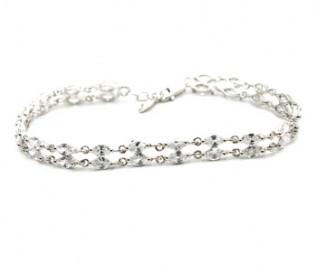2 Row Cz Silver Bracelet
