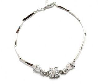 Cz Silver Butterfly Bracelet