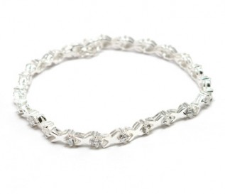 Cz Silver Kiss Links Bracelet