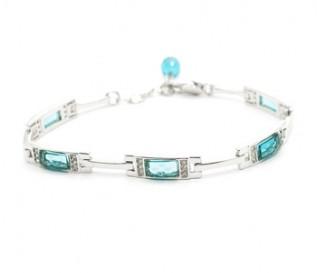 Blue And White Cz Silver Bracelet