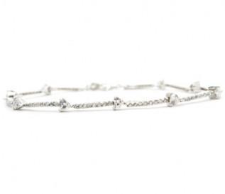 Cz Silver Cascading Hearts Bracelet