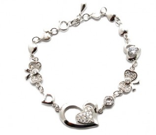 Cz Silver Hearts And Bow Bracelet