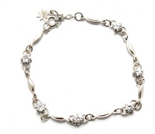 Cz Silver Bow Bracelet