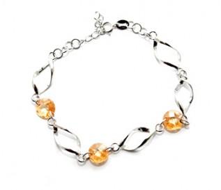 Champagne Cz Silver Twisted Link Bracelet