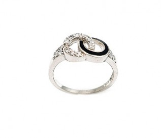 CZ Silver Entwined Circles Ring