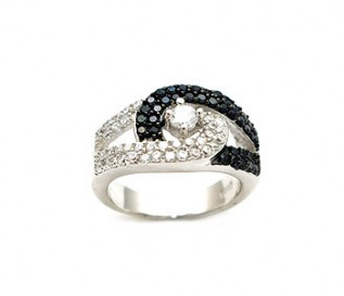 Black And White CZ Silver Buckle Ring