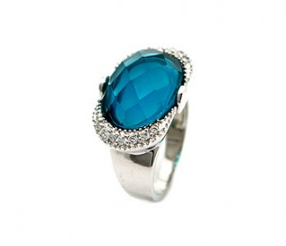 Blue And White CZ Silver Cocktail Ring
