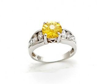 Canary Yellow CZ Silver Engagement  Ring
