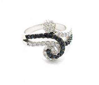 Black And White CZ Silver Flower Ring