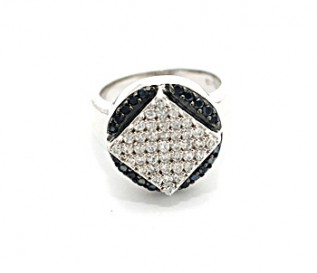 Black And white CZ Silver Diamonds And Circle Ring