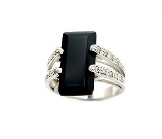 Black And White CZ Silver Cocktail Ring