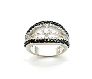 Black And White CZ Silver Engagement Ring