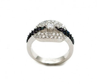 Black And White CZ 925 Silver Ring